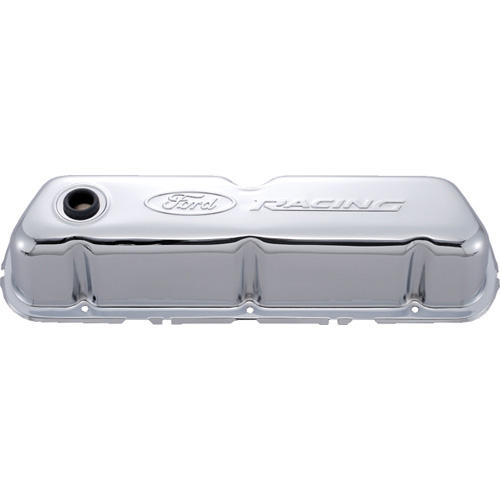 FORD RACING EMBOSSED LOGO STAMPED STEEL VALVE COVERS CHROME