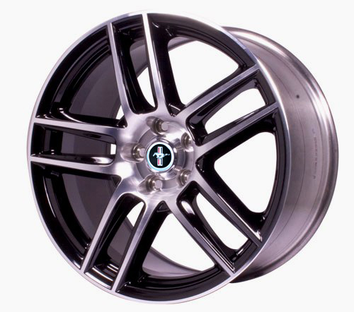 "MUSTANG BOSS 302S FRONT WHEEL 19""X9"" - GLOSS BLACK WITH MACHINED FACE"