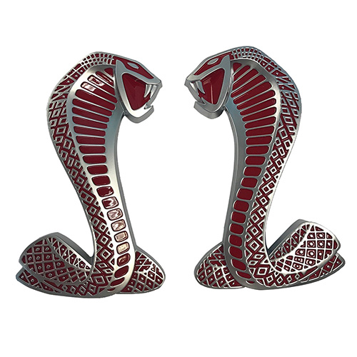 "2007-2009 MUSTANG SVT ""COBRA"" SNAKE FENDER EMBLEMS/BADGES-RED-PAIR"