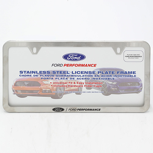 FORD PERFORMANCE SLIM LICENSE PLATE FRAME-BRUSHED STAINLESS STEEL