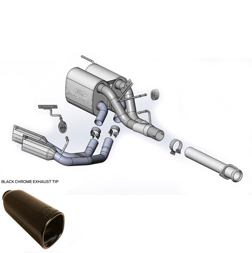2014 F-150 TREMOR 3.5L CAT-BACK SPORT  EXHAUST SYSTEM - SIDE EXIT , BLACK CHROME TIPS