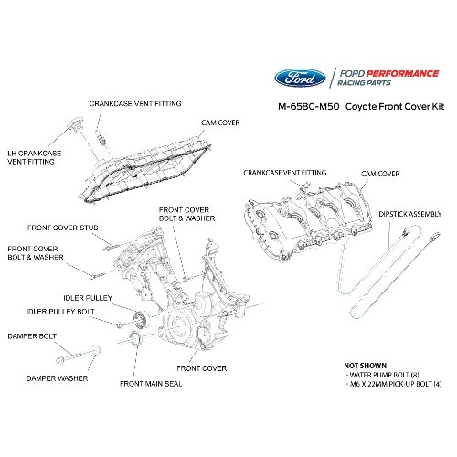 5.0L COYOTE TIMING/FRONT COVER AND CAM COVER KIT